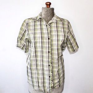 🎀3/$30 Men's Green & White Plaid Button Up Shirt